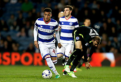 Ravel Morrison of Queens Park Rangers goes past Glenn Murray of Brighton & Hove Albion - Mandatory by-line: Robbie Stephenson/JMP - 07/04/2017 - FOOTBALL - Loftus Road - Queens Park Rangers, England - Queens Park Rangers v Brighton and Hove Albion - Sky Bet Championship