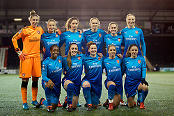 WIDNES, ENGLAND - Wednesday, February 7, 2018: Arsenal Ladies's players line-up for a team group photograph before the FA Women's Super League 1 match between Liverpool Ladies FC and Arsenal Ladies FC at the Halton Stadium. Back row L-R: goalkeeper Sari van Veenendaal, Leah Williamson, Dominique Janssen, Vivianne Miedema, Heather O'Reilly, Louise Quinn. Front row L-R: Danielle Carter, Lisa Evans, Emma Mitchell, Jordan Nobbs, Daniëlle van de Donk. (Pic by David Rawcliffe/Propaganda)