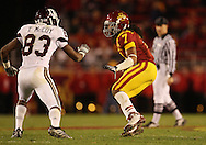 25 OCTOBER 2008: Texas A&M wide receiver Terrence McCoy (83) tries to get around Iowa State defensive back Kennard Banks (7) in the second half of an NCAA college football game between Iowa State and Texas A&M, at Jack Trice Stadium in Ames, Iowa on Saturday Oct. 25, 2008. Texas A&M beat Iowa State 49-35.
