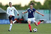 Caroline Weir (#9) of Scotland hits a long range shot during the FIFA Women's World Cup UEFA Qualifier match between Scotland Women and Belarus Women at Falkirk Stadium, Falkirk, Scotland on 7 June 2018. Picture by Craig Doyle.
