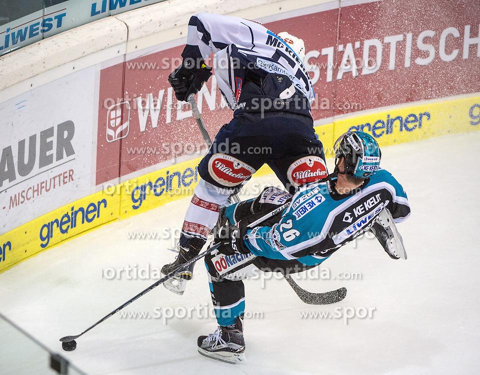 13.10.2015, Keine Sorgen Eisarena, Linz, AUT, EBEL, EHC Liwest Black Wings Linz vs EC VSV, 11. Runde, im Bild Rob Hisey (EHC Liwest Black Wings Linz) und Ryan McKiernan (EC VSV) // during the Erste Bank Icehockey League 11th round match between EHC Liwest Black Wings Linz and EC VSV at the Keine Sorgen Icearena, Linz, Austria on 2015/10/13. EXPA Pictures © 2015, PhotoCredit: EXPA/ Reinhard Eisenbauer