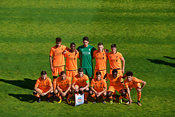 LENDAVA, SLOVENIA - Tuesday, October 17, 2017: Liverpool players line-up for a team group photograph before the UEFA Youth League Group E match between NK Maribor and Liverpool at Športni Park. Back row L-R: Curtis Jones, Rafael Camacho, goalkeeper Kamil Grabara, George Johnston, Liam Millar. Front row L-R: Anthony Driscoll-Glennon, Herbie Kane, captain Ben Woodburn, Adam Lewis, Bobby Adekanye, Curtis Jones. (Pic by David Rawcliffe/Propaganda)
