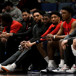 Mar 26, 2019; New Orleans, LA, USA; New Orleans Pelicans forward Anthony Davis sits in street clothes on the bench during the first quarter against the Atlanta Hawks at the Smoothie King Center. Mandatory Credit: Derick E. Hingle-USA TODAY Sports