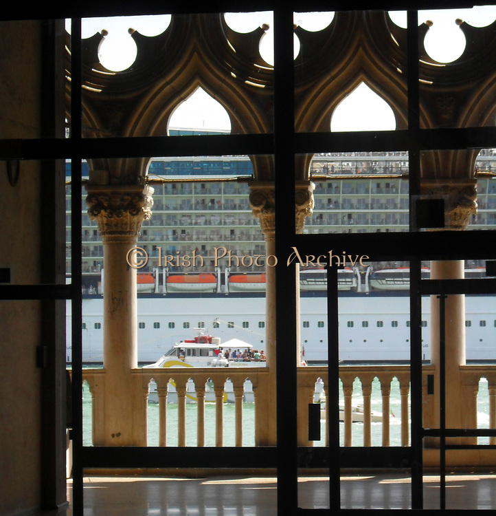 Cruise ship passing in front of the Doge's Palace, Venice, Italy