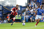 Tom Barkhuizen cuts in from the wing before scoring the opening goal during the Sky Bet League 2 match between Portsmouth and Morecambe at Fratton Park, Portsmouth, England on 22 August 2015. Photo by David Charbit.