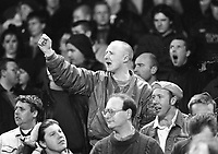English fans at the Ireland v England at Landsdowne Road. Following the Irish goal a riot erupted and the game was abandoned. 15/2/1995 (Part of the Independent Newspapers Ireland/NLI Collection)