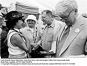 Carla Powell, Penny Mortimer, Jean Paul Getty and Christopher Gibbs.The Countryside Rally. Hyde Park, London. 10/7/97. Film 97569f14<br />