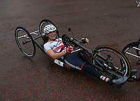 Karen Darke GBR winner RideLondon-Ladies Hand Cycle Prudential RideLondon, the world&rsquo;s greatest festival of cycling, involving 70,000+ cyclists &ndash; from Olympic champions to a free family fun ride - riding in five events over closed roads in London and Surrey over the weekend of 9th and 10th August. <br /> <br /> Photo: SCOTT HEAVEY for Prudential RideLondon<br /> <br /> See www.PrudentialRideLondon.co.uk for more.<br /> <br /> For further information: Penny Dain 07799 170433<br /> pennyd@ridelondon.co.uk