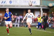 England player Kelly Smith runs onto a long kick downfield to score a try in the first half during the Women's 6 Nations match between England Women and France Women at the Keepmoat Stadium, Doncaster, England on 10 February 2019.