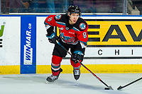 KELOWNA, BC - MARCH 11: Trevor Wong #8 of the Kelowna Rockets skates with the puck against the Victoria Royals at Prospera Place on March 11, 2020 in Kelowna, Canada. (Photo by Marissa Baecker/Shoot the Breeze)