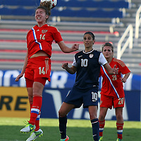 Russia forward Anastasiya Chevtchenko (14) heads the ball during an international friendly soccer match between the United States Women's National soccer team and the Russia National soccer team at FAU Stadium on Saturday, February 8, in Boca Raton, Florida. The U.S. won the match by a score of 7-0. (AP Photo/Alex Menendez)