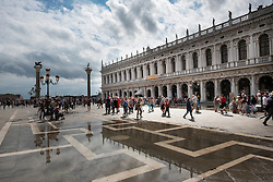Architecture reflected in flood water, Piazza San Marco, Venice, Italy.<br /> Photo: Ed Maynard<br /> 07976 239803<br /> www.edmaynard.com