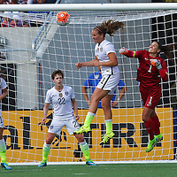 ORLANDO, FL - OCTOBER 25: Hope Solo #1 of USWNT punches away a crossed ball from in front of the goal during a women's international friendly soccer match between Brazil and the United States at the Orlando Citrus Bowl on October 25, 2015 in Orlando, Florida. (Photo by Alex Menendez/Getty Images) *** Local Caption *** Hope Solo