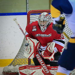 WHITBY, ON - Feb 2 : Ontario Junior Hockey League Game Action between the Whitby Fury Hockey Club and Mississauga Chargers Hockey Club, Austin Washkurak #92 of the Mississauga Chargers Hockey Club makes the save<br /> (Photo by Keith White / OJHL Images)