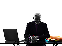 One Caucasian Senior Business Man busy working writing Silhouette White Background