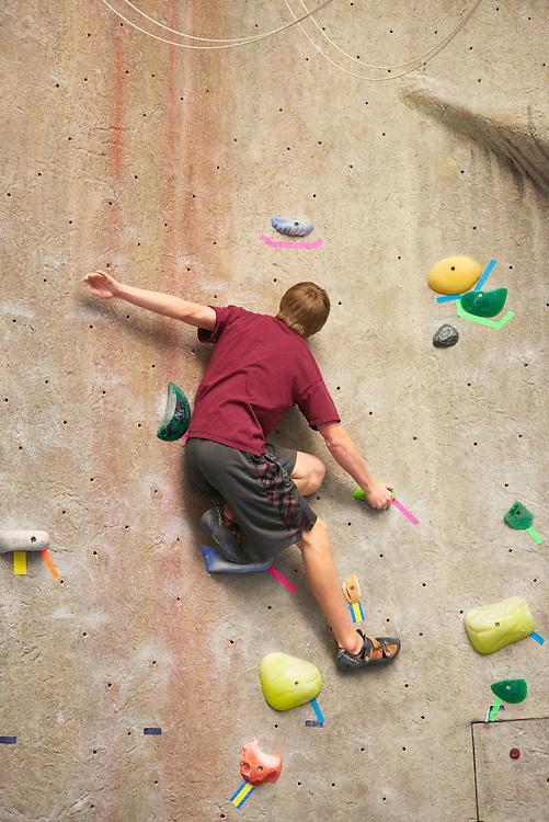 Activity; Climbing; Exercise; Buildings; Recreational Eagle Center Rec; Location; Inside; People; Student Students; Man Men; Type of Photography; Candid; UWL UW-L UW-La Crosse University of Wisconsin-La Crosse; Winter; February
