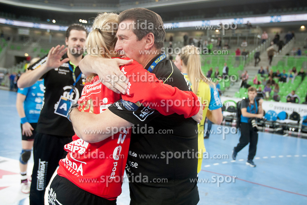 Katja Schuellze of HC Leipzig and Wieland Schmidt during handball match between RK Krim Mercator (SLO) and HC Leipzig (GER) in 6th Round of Women's EHF Champions League 2014/15, on November 21, 2014 in Arena Stozice, Ljubljana, Slovenia. Photo by Urban Urbanc / Sportida