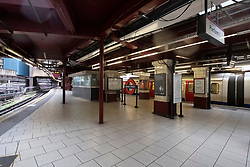 © Licensed to London News Pictures. 18/03/2020. London, UK.An empty Baker Street train station during the morning rush hour to emptier trains during the Coronavirus outbreak. Photo credit: Ray Tang/LNP