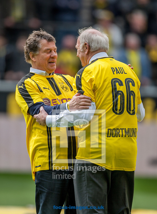 Otto Rehhagel with Wolfgang Paul in new jersey of Borussia Dortmund during the Bundesliga match at Signal Iduna Park, Dortmund<br /> Picture by EXPA Pictures/Focus Images Ltd 07814482222<br /> 14/05/2016<br /> ***UK &amp; IRELAND ONLY***<br /> Wolfgang Paul<br /> EXPA-EIB-160515-0066.jpg