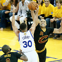 04 June 2017: Cleveland Cavaliers forward Richard Jefferson (24) defends on Golden State Warriors guard Stephen Curry (30) during the Golden State Warriors 132-113 victory over the Cleveland Cavaliers, in game 2 of the 2017 NBA Finals, at the Oracle Arena, Oakland, California, USA.