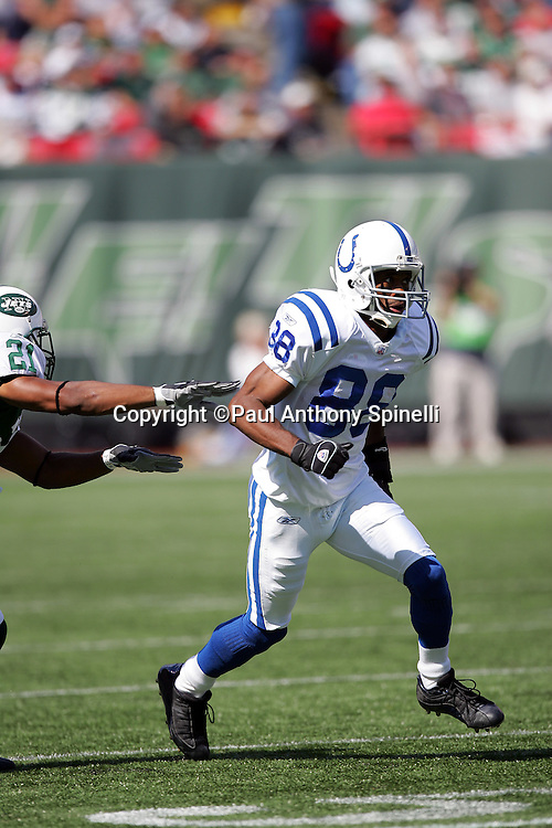 EAST RUTHERFORD, NJ - OCTOBER 1:  Wide receiver Marvin Harrison #88 of the Indianapolis Colts goes out for a pass against the New York Jets at the Meadowlands on October 1, 2006 in East Rutherford, New Jersey. The Colts defeated the Jets 31-28. ©Paul Anthony Spinelli *** Local Caption *** Marvin Harrison
