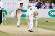 Chris Wright beats Tom Smith during the Specsavers County Champ Div 2 match between Gloucestershire County Cricket Club and Leicestershire County Cricket Club at the Cheltenham College Ground, Cheltenham, United Kingdom on 16 July 2019.
