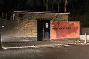 """NON EXCLUSIVE FEATURE:<br /> <br />  In a hilarious experiment, graffiti artist, MOBSTR, tagged the same wall in London for a year.<br /> <br /> For years, the artist cycled past this wall everyday to work and noticed the graffiti painted within the red area was 'buffed' with red paint, but the graffiti outside of the red area would be removed via pressure washing – which sparked the experiment.<br /> <br /> <br /> MOBSTR started to tag this wall and every time he did, someone would come and clean it up. The messages left for each other turned into a humorous experiment.<br />  <br /> <br /> """"The frequency of the responses was dictated by the efficiency of the clean up crew. Sometimes they responded to my actions within the same day, other times it took months,"""" says MOBSTR.<br /> <br /> <br /> The graffiti artist was careful to make sure he and the 'cleaner' worked different hours. He did manage to photograph the cleaner once though and this can be seen in the series.<br /> ©Exclusivepix Media"""