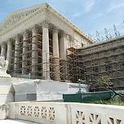 US Supreme Court Renovations. Renovations to the building of the US Supreme Court starting in the summer of 2012. This shot shows the scaffolding going up on the southern side of the building.