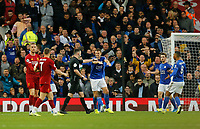 Football - 2019 / 2020 Premier League - Liverpool vs. Newcastle United<br /> <br /> Leicester City players protest to referee Chris Kavanagh after he awards a penalty to Liverpool in the dying minutes of the game, at Anfield.<br /> <br /> COLORSPORT/ALAN MARTIN