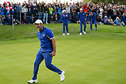 Jon Rahm (Esp) reacts after defeating Tiger Woods during the sunday singles session of Ryder Cup 2018, at Golf National in Saint-Quentin-en-Yvelines, France, September 30, 2018 - Photo Philippe Millereau / KMSP / ProSportsImages / DPPI