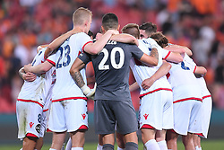 October 13, 2017 - Brisbane, QUEENSLAND, AUSTRALIA - Adelaide United players form a huddle after their victory in  the round two A-League match between the Brisbane Roar and Adelaide United at Suncorp Stadium on October 13, 2017 in Brisbane, Australia. (Credit Image: © Albert Perez via ZUMA Wire)
