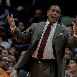 Dec 29, 2017; New Orleans, LA, USA; New Orleans Pelicans head coach Alvin Gentry reacts against the Dallas Mavericks during the second half at the Smoothie King Center. The Mavericks defeated the Pelicans 128-120.  Mandatory Credit: Derick E. Hingle-USA TODAY Sports