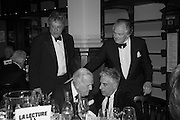 SIR TOM STOPPARD; SIR JOHN RICHARDSON; RIFAT OZBEK; LORD HINDLIP, The London Library Annual  Life in Literature Award 2013 sponsored by Heywood Hill. The London Library Annual Literary dinner. London Library. St. james's Sq. London. 16 May 2013.
