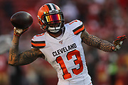 Cleveland Browns wide receiver Odell Beckham (13) warms up before an NFL football game against the San Francsico 49ers, Monday, Oct. 7, 2019, in Santa Clara, Calif. The 49ers defeated the Browns (Peter Klein/Image of Sport)