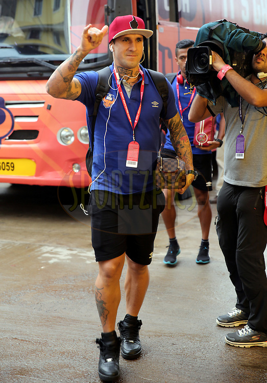 Rafael Coelho of FC Goa arrives for the match 8 of the Indian Super League (ISL) season 3 between FC Goa and FC Pune City held at the Fatorda Stadium in Goa, India on the 8th October 2016.<br /> <br /> Photo by Sandeep Shetty / ISL/ SPORTZPICS