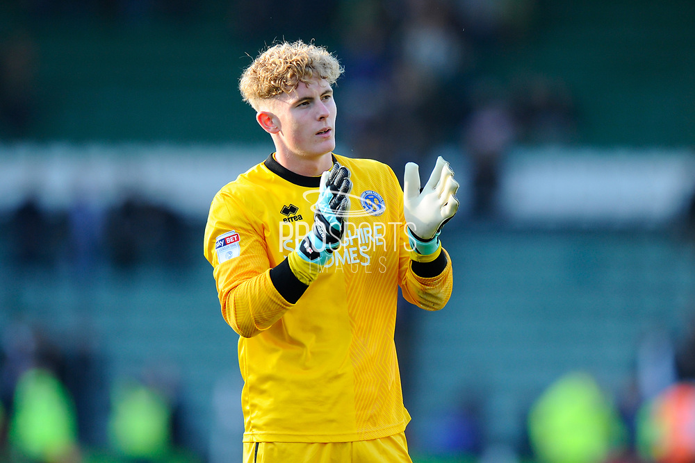 Dean Henderson (1) of Shrewsbury Town applauds the fans at full time after the 1-1 draw during the EFL Sky Bet League 1 match between Plymouth Argyle and Shrewsbury Town at Home Park, Plymouth, England on 14 October 2017. Photo by Graham Hunt.