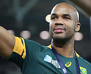South Africa's J P Pieterson thanking the fans after winning the third place play off during the Rugby World Cup Bronze Final match between South Africa and Argentina at the Queen Elizabeth II Olympic Park, London, United Kingdom on 30 October 2015. Photo by Matthew Redman.
