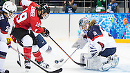 Brianne Jenner is turned away by goalie Jessie Vetter as Canada takes on the USA in women's hockey action on February 12, 2014 at the Shayba Arena during the XXII Olympic Winter Games in Sochi, Russia.