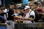 PHOENIX, AZ - MAY 24:  Todd Frazier #21 of the Chicago White Sox signs autographs for fans prior to the MLB game against the Arizona Diamondbacks at Chase Field on May 24, 2017 in Phoenix, Arizona.  (Photo by Jennifer Stewart/Getty Images)