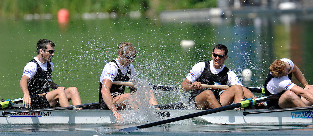 (L-R) SEAN O'NEILL & HAMISH BURSON & JADE URU & DAVID EADE (ALL NEW ZEALAND) CELEBRATE THEIR SILVER MEDALS AFTER MEN'S FOUR FINAL A DURING REGATTA ROWING WORLD CUP ON ROTSEE LAKE IN LUCERN, SWITZERLAND...SWITZERLAND , LUCERN , JULY 11, 2010..( PHOTO BY ADAM NURKIEWICZ / MEDIASPORT )..PICTURE ALSO AVAIBLE IN RAW OR TIFF FORMAT ON SPECIAL REQUEST.
