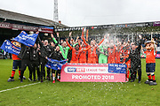 Luton Town's runner up trophy presentation during the EFL Sky Bet League 2 match between Luton Town and Forest Green Rovers at Kenilworth Road, Luton, England on 28 April 2018. Picture by Shane Healey.
