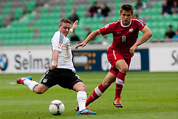 Marc Stendera of Germany vs Sebastian Rudol of Poland during the UEFA European Under-17 Championship Group A semifinal match between Germany and Poland on May 13, 2012 in SRC Stozice, Ljubljana, Slovenia. (Photo by Matic Klansek Velej / Sportida.com)