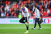 England forward Harry Kane warms up and checks his boot during the UEFA European 2020 Qualifier match between Czech Republic and England at Sinobo Stadium, Prague, Czech Republic on 11 October 2019.