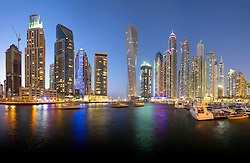 Night skyline of skyscrapers in Marina District of Dubai United Arab Emirates