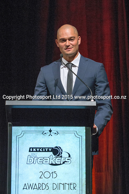 Assistant Coach Judd Flavell speaks at the SkyCity Breakers Awards, 2014-15, SkyCity Convention Centre, Auckland, New Zealand, Friday, March 20, 2015. Copyright photo: David Rowland / www.photosport.co.nz