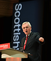 Shadow Chancellor John McDonnell delivers the keynote speech on the final day of the Scottish Labour conference at the Caird Hall in Dundee.<br /> <br /> &copy; Dave Johnston / EEm
