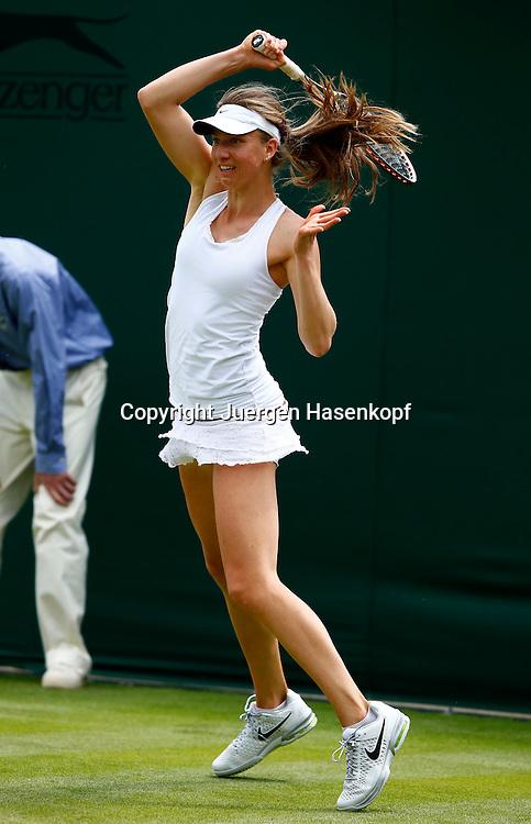 Wimbledon Championships 2013, AELTC,London,<br /> ITF Grand Slam Tennis Tournament, Mona Barthel (GER),Aktion,Einzelbild,Ganzkoerper,Hochformat,