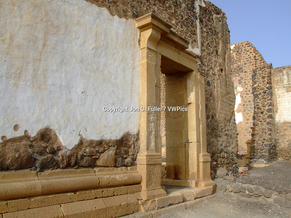 Ruins of the Se Cathedral, the first Catholic cathedral built in Africa, begun in 1556.  Now in ruins in Cidade Velha, the first European colonial settlement in the tropics in 1462 A.D. on the island of Santiago, Cabo Verde or Cape Verde.  UNESCO World Heritage Site.