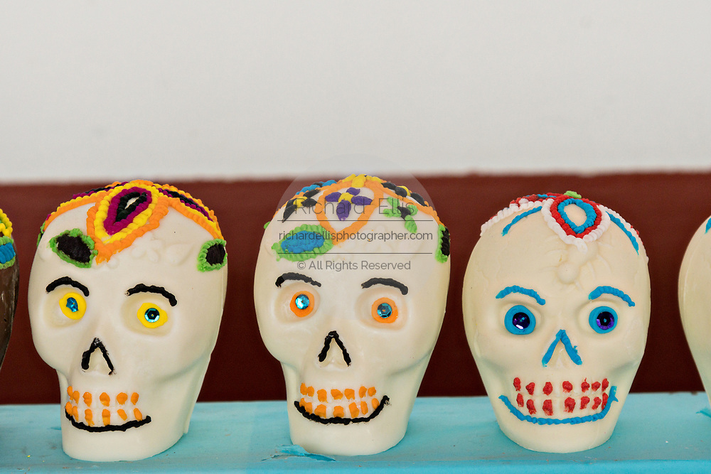 Sugar skull candy on display for the Day of the Dead festival October 31, 2017 in Patzcuaro, Michoacan, Mexico.