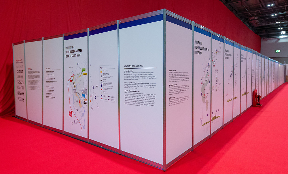 The course maps in the Prudential Zone. The Cycling Show at Excel London. 26th July 2018<br /> <br /> Photo: Anthony Upton for Prudential RideLondon<br /> <br /> Prudential RideLondon is the world's greatest festival of cycling, involving 100,000+ cyclists - from Olympic champions to a free family fun ride - riding in events over closed roads in London and Surrey over the weekend of 28th and 29th July 2018<br /> <br /> See www.PrudentialRideLondon.co.uk for more.<br /> <br /> For further information: media@londonmarathonevents.co.uk